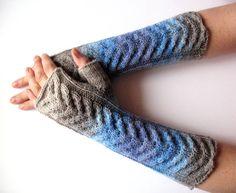 Gray Fingerless Gloves Blue Azure Violet Purple Beige Long Mittens Arm Warmers, Acrylic Wool on Etsy, $54.00