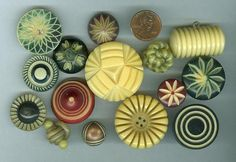 A Great Collection of 15 Vintage Celluloid Buttons