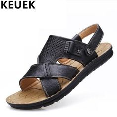 Summer Men Sandals Genuine leather Open toe Casual Elderly Slippers Male Slip-resistant Beach Flats zapatos hombre zapatillas 03