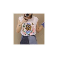 Dog Print Sleeveless T-Shirt ($14) ❤ liked on Polyvore featuring tops, t-shirts, tees, women, brown t shirt, sleeveless tee, cotton t shirts, cotton tee and sleeveless tshirt