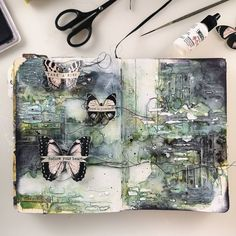 ----- Missed my art journaling 💚 Creating only with & for myself ---- #maremismallart #artjournalpage #artjournaling #journal #artjournal…
