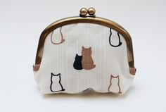 Coin purse  Cream cat fabric by cheekyleopard on Etsy