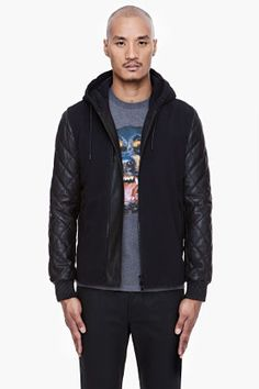 GIVENCHY Black Quilted Leather Hoodie