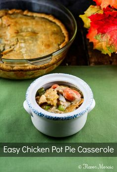 Easy Chicken Pot Pie Casserole Recipe makes a great fall meal and includes chicken with a creamy savory sauce over chicken, onions, celery, peas, and carrots topped with a flaky, buttery crust. Perfect comfort food your whole family will enjoy.