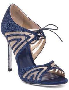 Rene Caovilla Mesh & Strass Peep-Toe Sandals
