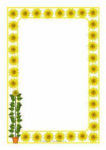 Sunflowers A4 page borders (SB4170) - SparkleBox