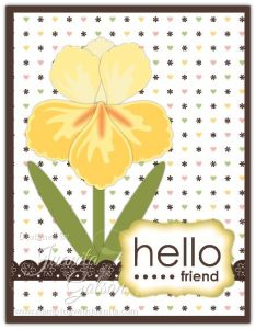 card by Juanita Golson using Stampin' Up Build a Blossom punch for the Iris