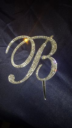 5 Tall Initial Monogram Wedding Cake Bling Sparkly Swarovski Crystal Topper by SpectacularEvents, $50.00