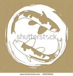 Two koi carps laser or plotter cut suitable for stickers, print, stencil manufacturing and engraving Vector illustration