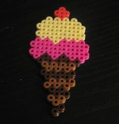 Strawberry and Vanilla Ice Cream Cone Pin perler beads by NileTreasures