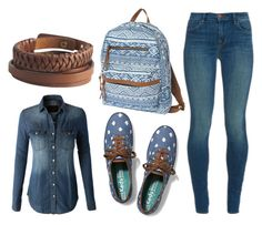 """""""Casual - vintage // denim"""" by ash1223 ❤ liked on Polyvore featuring moda, LE3NO, J Brand, Keds, Pieces y vintage"""