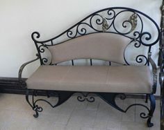 wrought iron bench with soft cushion