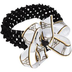 Appalachian State Mountaineers Women's Satin Circle Bow Crochet... ($6.99) ❤ liked on Polyvore featuring accessories, hair accessories, black, crochet headwrap, bow headwrap, bow headbands, crochet flower headband and elastic headbands