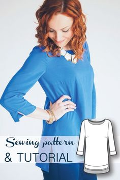 High Low Long Sleeve Blouse Sewing Pattern and Sewing Tutorial