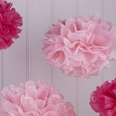 Vintage Lace Pom Pom Set rosa bei www.party-princess.de