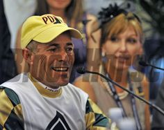 Gary Stevens at the Breeders' Cup Classic post- race press conference. Mucho Macho Man co-owner Patti Reeves looks on... © 2013 Rick Samuels/The Blood-Horse