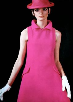 Magdorable!: Linda Morand is wearing an elegant pink dress by Pierre Cardin, Vogue Pattern Book Autumn 1967 (N° 1788)