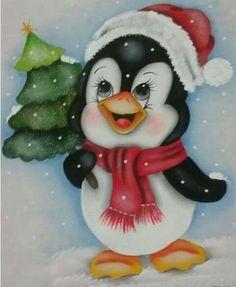 Pingüino con árbol Christmas Tree Painting, Christmas Canvas, Christmas Drawing, Christmas Yard Decorations, Christmas Rock, Christmas Crafts, Christmas Ornaments, Painted Ornaments, Christmas Clipart