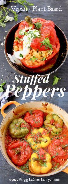 Vegan Stuffed Bell Peppers Recipe with Brown Rice and Mushrooms. VeggieSociety.com @VeggieSociety #vegan #stuffedPeppers #plantbased #glutenfree
