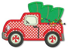 Christmas Truck with Tree Applique 4x4 5x7 6x10