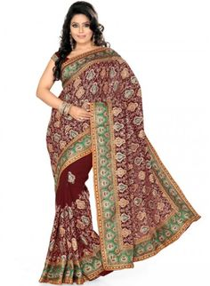 Exotic Maroon Color Faux Georgette Based Embroidered #Saree