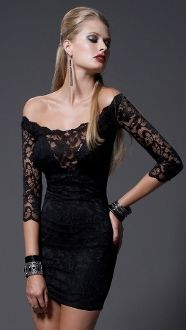 Kaithleen Lace Short Black Dress Kimikal Sexy long sleeve off the shoulders mini dress with lace overlay