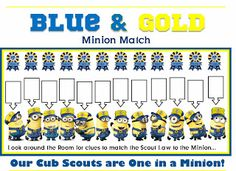 CUTEST EVER Minion Cub Scout Blue and Gold Ideas.  Preopener, Games, Placemat, invitations - EVERYTHING!