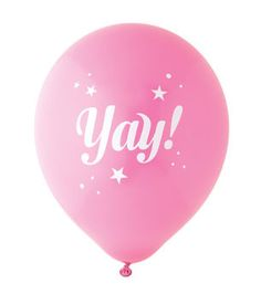 YAY! HOT PINK & WHITE STAR BALLOONS