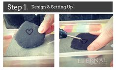 How to carve hearts in pebbles, stone and sea glass. Step 1. Design & Setting up