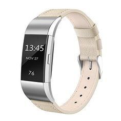 FYI: Girls Leather Fitbit Charge 2 Band Metal Connectors Stainless Steel Buckle Beige
