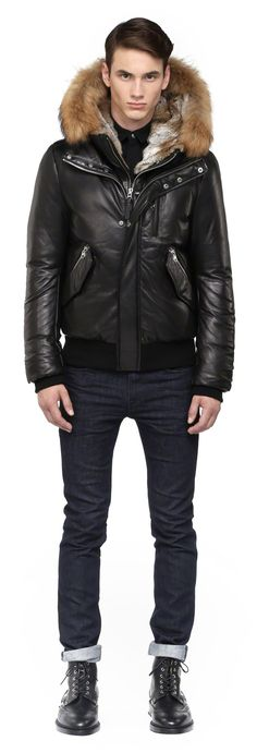 Mackage - GLEN BLACK LEATHER WINTER DOWN COAT FOR MEN WITH FUR HOOD. www.mackage.com #menswear #fw14 #wintercoat #fur #parka #luxuryouterwear #leather