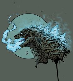Leonardo Gonzalez - Godzilla 2014 ink and digital - All Godzilla Monsters, Cool Monsters, Horror Monsters, King Kong, Godzilla Tattoo, Giant Monster Movies, Godzilla Wallpaper, Big Scary, Cool Art