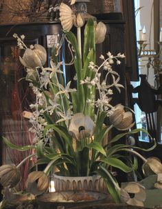 One of the most amazing chandeliers we've ever had at the shops! Tulip lights and other flowers dance in this old Italian beauty from Sisters Garden!