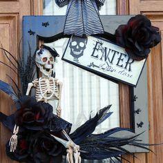 Halloween Wreath From a Cabinet Door