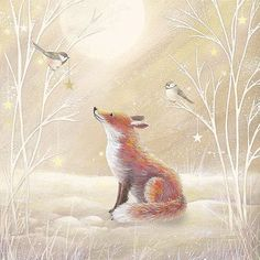 Gentle, kind and very nice illustration of Sarah Summers. Discussion on LiveInternet - Russian Service Online diary Christmas Pictures, Christmas Art, Vintage Christmas, Christmas Animals, Fuchs Illustration, Cute Illustration, Friends Illustration, Woodland Creatures, Woodland Animals