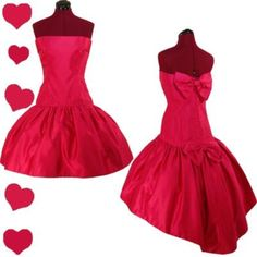 PinupDresses.com #Vintage #Dress   	  Vintage 80s PINK Strapless PROM COCKTAIL Party Dress M BOWS Satin Glam Fishtail