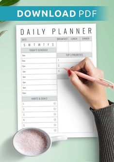 Because there is a better solution: printable planner templates. It's not necessary to look for a planner even though you want to plan your day with pen and paper. Choose the daily planner PDF you likefrom our collection of bestprintable daily planners you can find online to make 2020 your most productive year yet. That's why people globally adopt them for business and academic purposes. Weekly Meal Plan Template, Daily Schedule Template, Daily Planner Printable, Planner Template, Today's Schedule, Daily Planners, Passion Planner, Planning Your Day, Pen And Paper