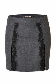 Roberto Cavalli Stretch Wool Mini-Skirt with Lace in Dark Heather Grey Roberto Cavalli, Wool Mini Skirt, Mini Skirts, Skirt Pants, Dress Skirt, Trendy Fashion, Womens Fashion, Mode Outfits, Mode Style