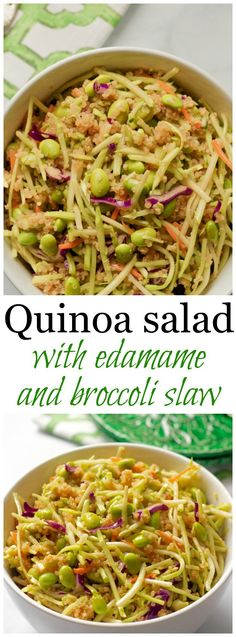 Quinoa salad with edamame, broccoli slaw and a citrus-soy vinaigrette | FamilyFoodontheTable.com