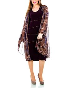 Another great find on #zulily! Burgundy Abstract Layered Dress - Plus by La Mouette #zulilyfinds