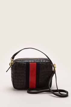 5f9b7031ad2 Sac midi en cuir noir texturé et velours rouge zoom