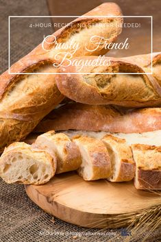 This recipe produces baguettes or rolls such as you& find in a French Bakery. The bread doesn& need a starter and it can be ready in 4 hours. Now you can have bakery bread in your own home in no time at all. Baguette Bread, No Yeast Baguette Recipe, Homemade Baguette Recipe, Crusty French Baguette Recipe, Bread Baking, Yeast Bread, French Bakery, Baguette, 4 H