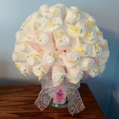 Being Genevieve: Diaper Bouquet Tutorial. Perfect Baby Shower Gift!