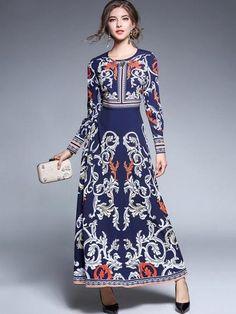 2c69ce48d5c96 Blue Rhinestones Maxi Dress. 2017 autumn new woman Vintage Elegant Diamonds  printing dress O-neck palace long sleeves dress lady fashion party long  dresses