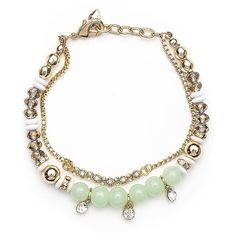 Lonna & Lilly Soft  and Gold Tone Bead Bracelet ($34) ❤ liked on Polyvore featuring jewelry, bracelets, green, gold tone bangles, beading jewelry, dangling jewelry, crystal beaded jewellery and chains jewelry