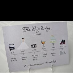 Great idea to give all of the wedding party... So they know whats expected of them fir the day