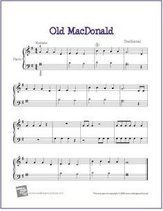 Old MacDonald | free Sheet Music for Easy Piano - http://makingmusicfun.net/htm/f_printit_free_printable_sheet_music/old-macdonald-piano-solo.htm