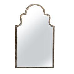 Beautiful Moorish shaped iron mirror with gunmetal steel patina finished frame.