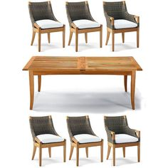 Roseau 7-pc. Dining Set - Sailcloth Seagull ($5,995) ❤ liked on Polyvore featuring home, outdoors, patio furniture, outdoor patio sets, extending dining table sets, outside dining sets, outdoor dining sets, outdoor table and chairs and 7 piece outdoor patio set