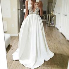 white v-neck long A-line unique charming 2018 prom dress, PD3018